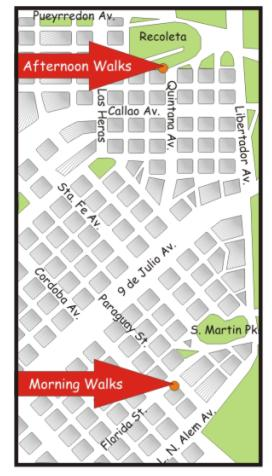 Departure-spots map for Buenos Aires Walking Tours, BA Walking Tours & Buenos Aires Tours (for Buenos Aires Tango pick-up, call)